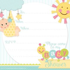 FREE Printable Baby Shower Invitations for Boys (Girls version available too)