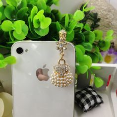 Rhinestone Crystal 3.5mm Jack Earphone Anti-dust Plugs Cap Charm for iPhone/HTC/Samsung/LG (White) ,Best personalized gifts for him or her on Yoyoon.com