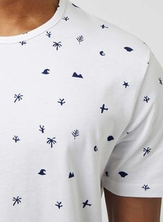 White and Navy Shapes Print T-Shirt - Men's T-Shirts & Vests - Clothing