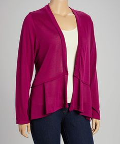 This Magenta Layered Open Cardigan - Plus by Chris & Carol is perfect! #zulilyfinds