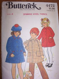 Vintage Coat Size 4 Girls  Butterick Sewing Pattern 1960s.