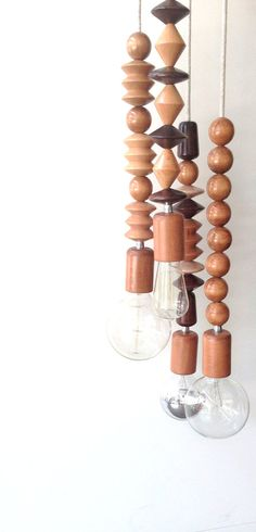 Wood FOUR Bead Handmade Pendant Light Chandelier by LightCookie