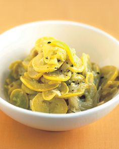 Slow-Cooked Yellow Squash | Martha Stewart Living - Long cooking in a covered pot concentrates the sweet, nutty flavor of squash. If the vegetable begins to brown as it cooks, lower the heat and add a splash of water.