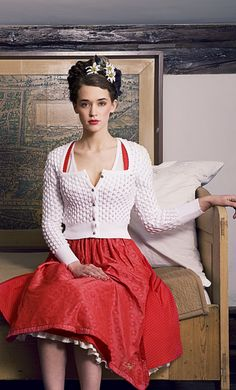 Julia Trentini Red White Dirndl Trachten~Edelweiss Head Decoration, white lace pattern sweater, lipstick red dress~