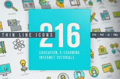 Thin Line Icons for Online Education @creativework247
