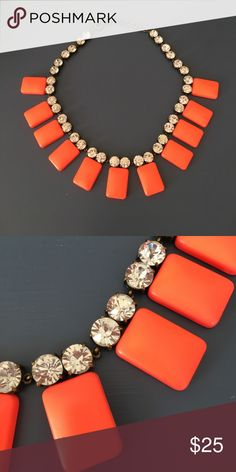 J. Crew necklace Bright orange/coral with rhinestones - worn once J. Crew Jewelry Necklaces
