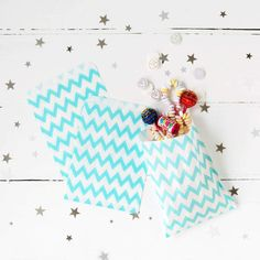 Blue Chevron Print Party Treat Bags by Postbox Party, the perfect gift for Explore more unique gifts in our curated marketplace. Small Gifts, Unique Gifts, Paper Confetti, Sweet Bags, Blue Chevron, Party Treats, Printed Bags, Party Bags, First Birthdays