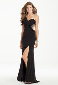 One Shoulder Beaded Dress with Cutout Side