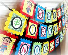 Monkey Happy Birthday banner - Julius Jr Inspired - Red Chevron Green Chevron Yellow Polka Dots & Blue Stripes Chevron