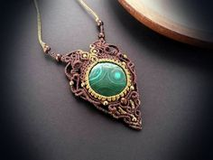 Macrame necklace with Malachite Intuitive by EarthBoundMacrame