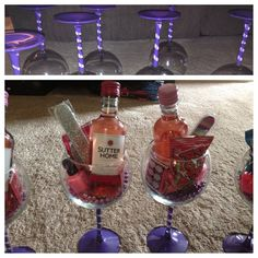 Painted Stem Wine Glasses Filled With Mini Bottle Of Nail Polish File Ring Pop Scratch Off Dare Card And Mardi Gras Beads