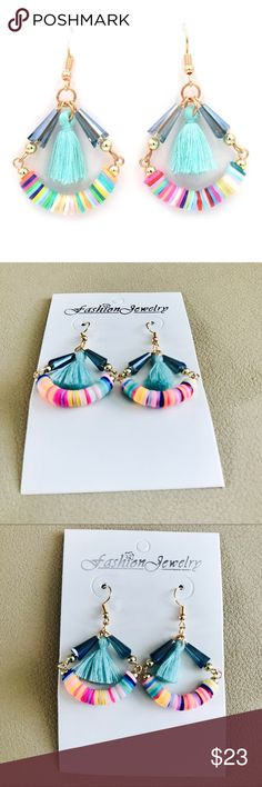 NWT Boho Tassel Chandelier Earrings Tassel Chandelier Drop Earrings, Brand New, Pastel Colors with Teal, Pink, Turquoise, cream, yellow and light green bead bauble accents, and Teal tassel. brand listed for views. 2 inches long. J. Crew Jewelry Earrings