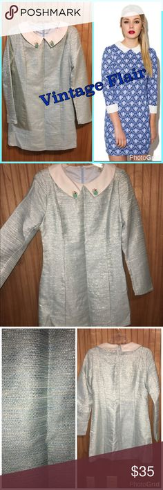 """🆕Vintage Luxe Peter Pan Collar Dress Sz L Very elegant vintage inspired Peter Pan collar Shift dress; the fabric is a beautiful blend of light blue with silver sparkle thread woven throughout. Measurements: Length: 32"""", bust: 37"""", waist: 33"""", hip: 39"""". NWOT. Sz L Chun Mei Na Dresses Mini"""