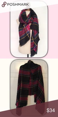 NWT Fabulous Pink/Black Plaid Blanket Scarf/Wrap I adore this scarf! I ordered one for myself! It is warm and cozy! And super soft! I cannot wait to wrap up in this! It is also a good size scarf! Boutique Accessories Scarves & Wraps