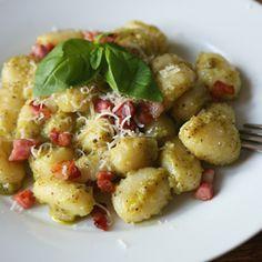 Gnocchi with pistachio pesto and pancetta