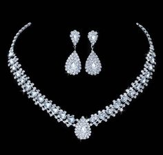 New Design Teardrop Synthetic Gemstones w/Crystals Bridal Jewelry Sets