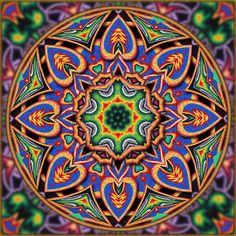 Huichol yarn and bead art. In traditional Huichol. Yarn Painting, Mandalas Painting, Mandala Art, Kaleidoscope Images, South American Art, Visionary Art, Mexican Folk Art, Fractal Art, Bead Art