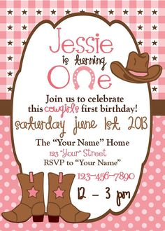 Personalized  Cowgirl Birthday Invitation by DoodlesDotsnDimples, $5.50 www.etsy.com/shop/doodlesdotsndimples