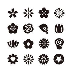 Illustration of Various kind of flower icon, black and white illustration vector art, clipart and stock vectors. Nagel Stamping, Foto Gif, Flower Symbol, Flower Clipart, Flower Vector Art, Vector Flowers, Flower Doodles, Black And White Illustration, Mini Tattoos