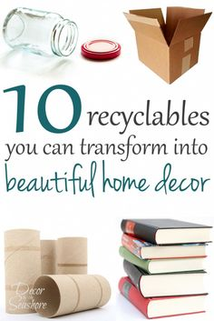 Did you know you can turn everyday household recyclables into beautiful home decor? You would have never guessed that these projects started in the recycling bin! Check out these 10 items you should always save for your craft stash and the easy DIY home decor projects you can make with them here! | decorbytheseashore.com