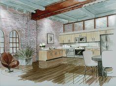 Best Home Decoration Magazine Interior Design Renderings, Drawing Interior, Interior Rendering, Interior Sketch, Interior Windows, Interior And Exterior, Cafe Interior, Architecture Details, Interior Architecture