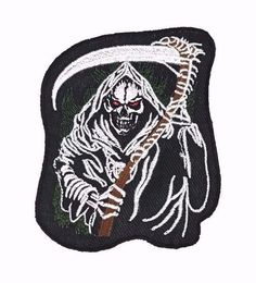 Grim Reaper Scythe Embroidered Patch Iron On Gothic Skeleton Skull Biker Punk #Embroidered