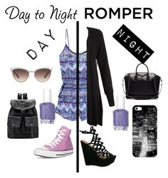 """#DayToNightRomper"" by sophiehill2209 ❤ liked on Polyvore featuring Victoria's Secret, Monsoon, Converse, Gucci, Givenchy, Essie, Casetify, DayToNight and romper"