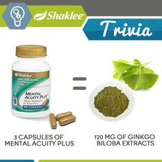 SHAKLEE TRIVIA: Mental Acuity Plus Did you know that just 3 capsules of Mental Acuity is equivalent to 120 mg of Ginkgo Biloba extracts? For improving cognitive function in healthy people, studies have used between 120 milligrams to 600 milligrams of the extract daily. What's the health benefit of Ginkgo? Ginkgo is often used for memory disorders including Alzheimer's disease. It is also used for conditions that are caused by reduced blood flow ...