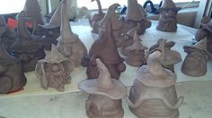 These little Gnomes are made by my Art 1 classes.  Base was made with coils like the little ghosts made last year.  Only their hats will be glazed.  Tina Fox