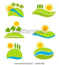 Landscape icons for design. Vector illustration