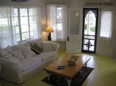 Martha's Vineyard historic home - living room with celery green floor