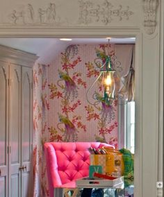 This room may have been in a Washington D.C. designer show house that I attended. The wallpaper is stunning!