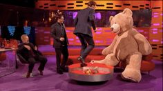 Benedict then attacked the bear. | Benedict Cumberbatch Imitated An Otter And Then Punched A Teddy Bear