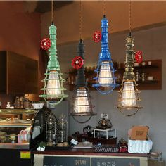 Multi-Color DIY Industrial Iron Pipe Vintage Ceiling Lamp Hanging Pendant Light #ArtDeco