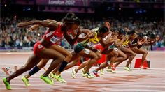 (L-R) Tianna Madison of the United States, Allyson Felix of the United States, Shelly-Ann Fraser-Pryce of Jamaica, Blessing Okagbare of Nigeria, Carmelita Jeter of the United States, Veronica Campbell-Brown of Jamaica, Murielle Ahoure of Cote d'Ivoire and Kelly-Ann Baptiste of Trinidad and Tobago compete in the Women's 100m Final on Day 8./Photo/sport/General/01/32/63/401athletes-compete-the-women-100m-final1326340Related tags