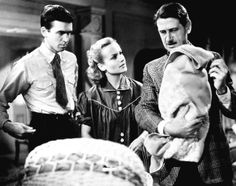 "Jimmy Stewart, Carole Lombard and director John Cromwell on the set of ""Made For Each Other"" (1939)"