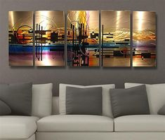 Abstract metal wall art painting Techno scheme by HawkArtWorks, $199.00