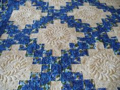 Double Irish Chain Quilt with trapunto work