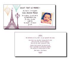 Faire-part de naissance bilingue Thème : Paris