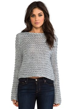 Shop for Cheap Monday Cher Sweater in Grey Melange at REVOLVE. Free day shipping and returns, 30 day price match guarantee. Poncho Pullover, Black Leather Pants, Garter Stitch, Knit Fashion, Mode Outfits, Revolve Clothing, Crochet Clothes, Pulls, Hand Knitting