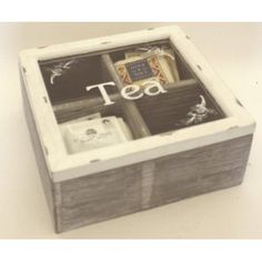 Shabby Chic Tea Box - White And Grey £16.50 Decoupage, Tea Box, Wood Boxes, Floating Nightstand, Farm House, Storage Ideas, Tea Time, Home Accessories, Shabby Chic