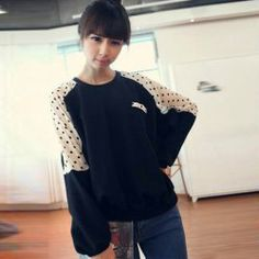 $8.32 Fashion and Sweet Polka Pattern Round Neck Oversized Black Sweater For Women