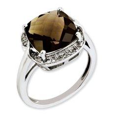 $121.95 - $122.95 Sterling Silver Smoky Quartz and Diamond Ring - Size 5 West Coast Jewelry http://www.amazon.com/dp/B00KDVGUXC/ref=cm_sw_r_pi_dp_x74Pub07759MY
