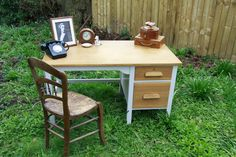 Large vintage teak desk, hand painted, mid century teachers desk, crafting table | eBay