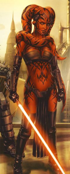 "Darth Talon, from ""Darth Krayt and Darth Talon"" by Chris Trevas, cropped for detail. Star Wars art."
