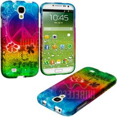 """Amazon.com: myLife (TM) Rainbow Peace and Flower Power Series (2 Piece Snap On) Hardshell Plates Case for the Samsung Galaxy S4 """"Fits Models..."""