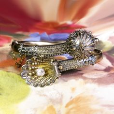 Victorian Antique 1870's Vintage Old Mine Cut Diamond Shell Bypass Hinged Cuff Bangle Bracelet 18k Yellow Gold