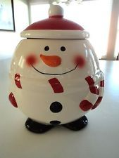 Christmas Snowman Ceramic Cookie Jar