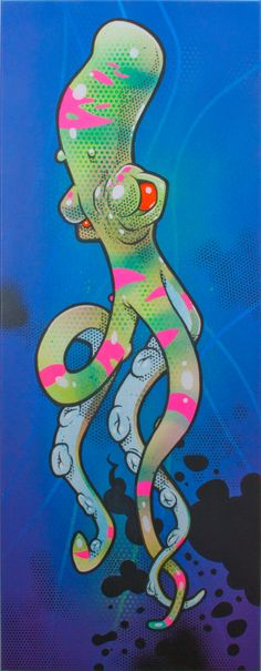 """Fluor octopus"" spraypaint and Posca paintmarkers on canvas."