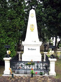 Zentralfriedhof in Vienna, Austria - Grave Marker- Beethoven  --  Beethoven was originally buried at Wahringer Friedhof.  That cemetery was closed in the 1870's.  Both Beethoven and Franz Schubert (who was buried next to his idol) were transferred to Zentralfriedhof.